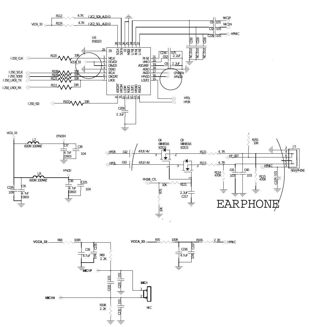 Peripheralschematics 1w Stereo Headphone Amplifier Based Tda2822 I2s For Audio Data I2c Control Of The Ic Ac97 Volumes And Routing Etc Optional Gpio Detection Eg Physical Insertion